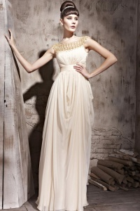 Charming Empire Scoop Floor-Length Evening